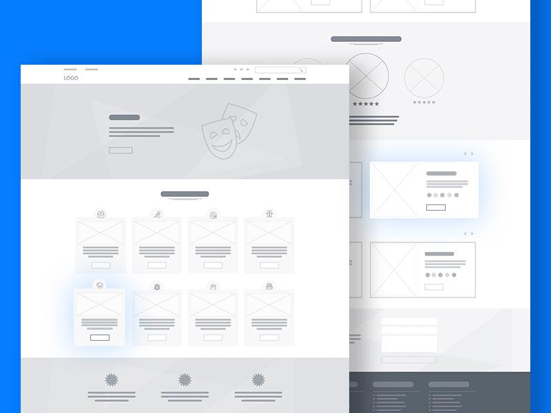 website wireframe template psd