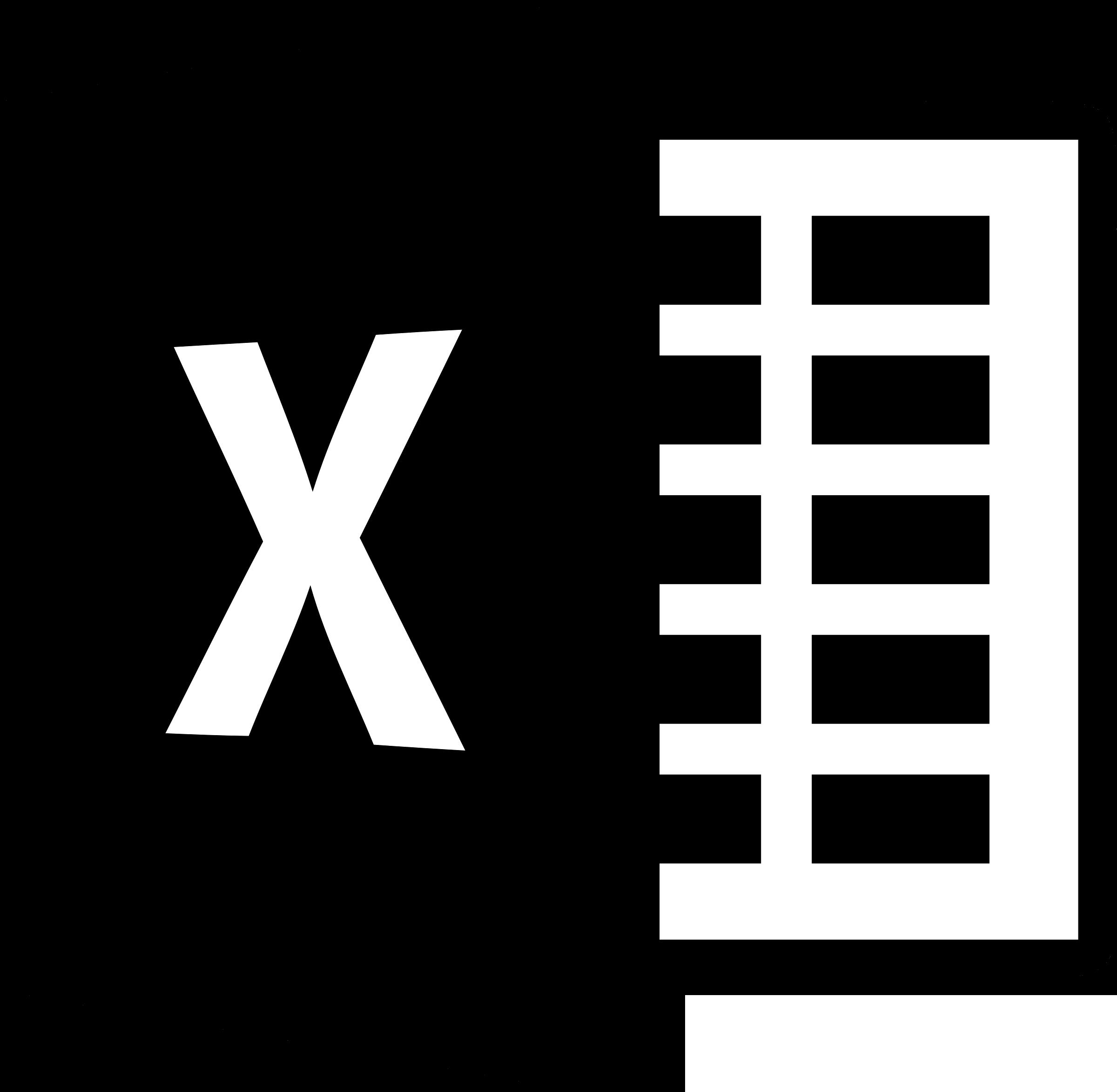 microsoft excel 2013 logo black and white