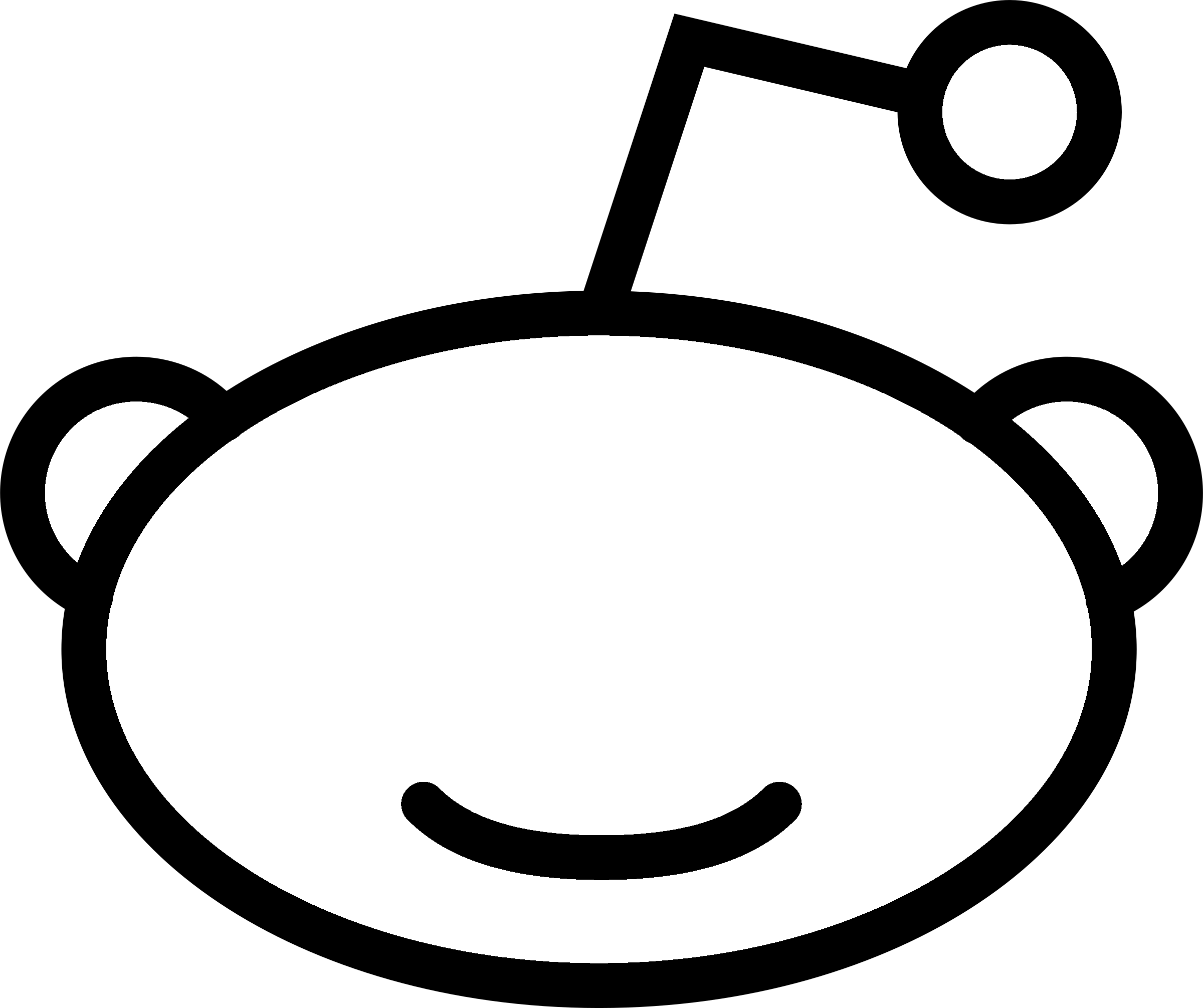 Reddit icon logo black and white