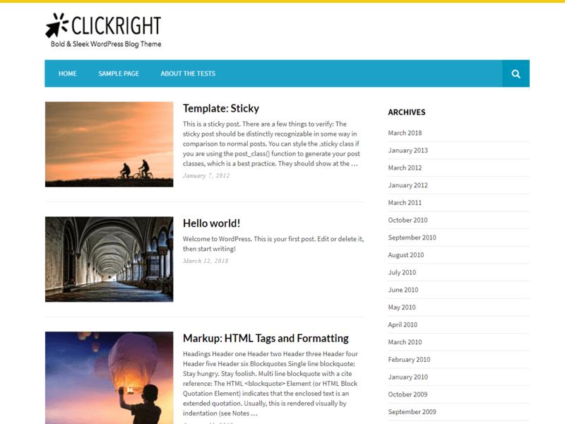 Clickright Lite - Free Blog WordPress Theme - Freebie Supply