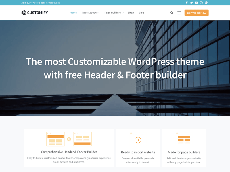 Customify - Free Ecommerce WordPress Theme - Freebie Supply