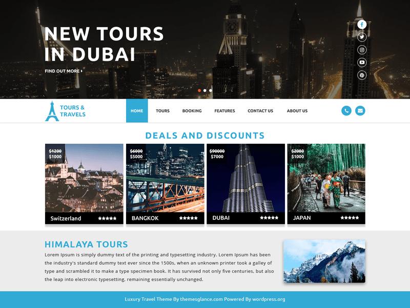 Luxury Travel - Free Ecommerce WordPress Theme - Freebie Supply