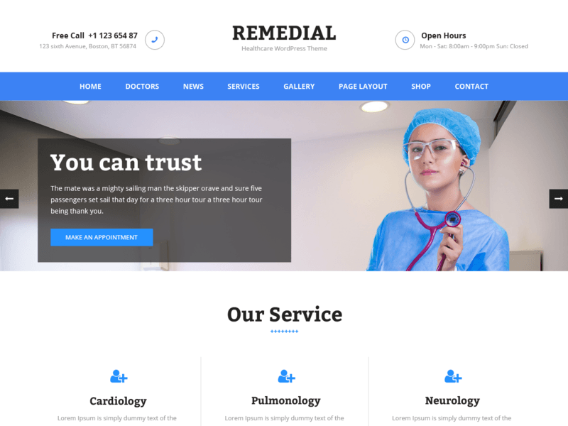 Remedial free business wordpress theme freebie supply there is no theme options panel instead uses customizer core feature of wordpress and comes with lots of options wajeb Gallery