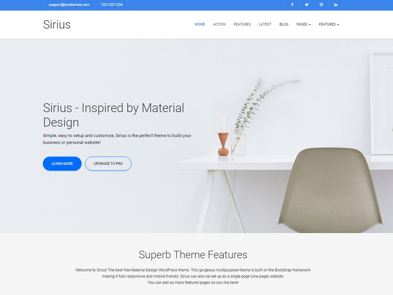 Sirius lite free business wordpress theme freebie supply sirius is a clean simple material design business theme this multipurpose theme is built on the bootstrap framework making it fully responsive and cheaphphosting Gallery