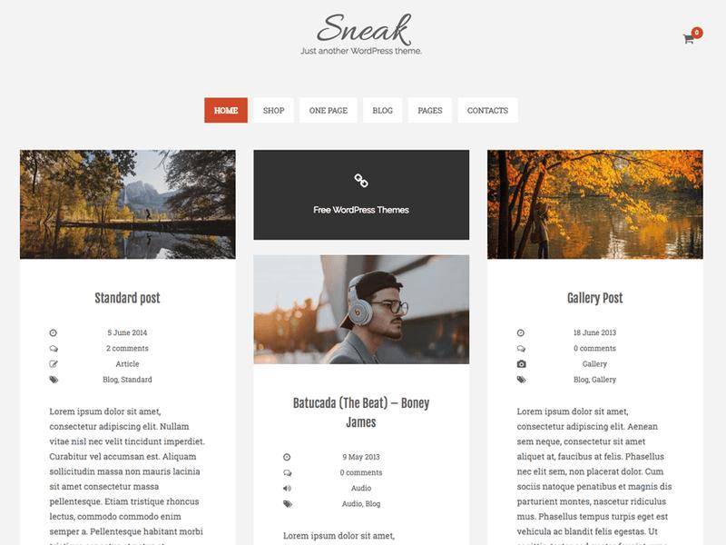 Sneak Lite - Free Ecommerce WordPress Theme - Freebie Supply