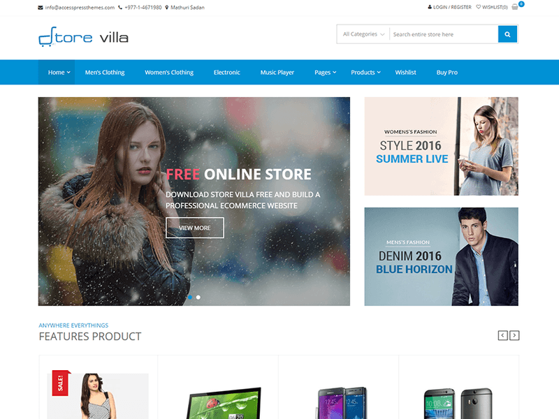 StoreVilla - Free Ecommerce WordPress Theme - Freebie Supply