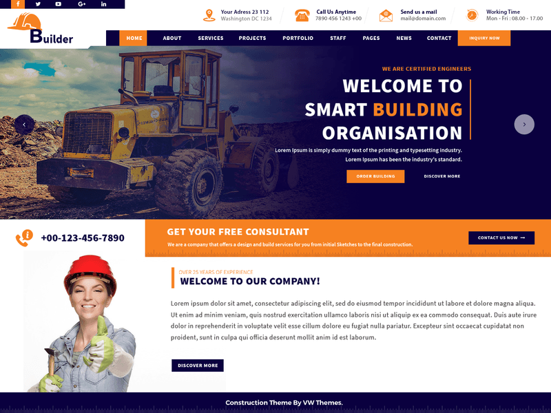 VW Construction Estate - Free Business WordPress Theme - Freebie Supply