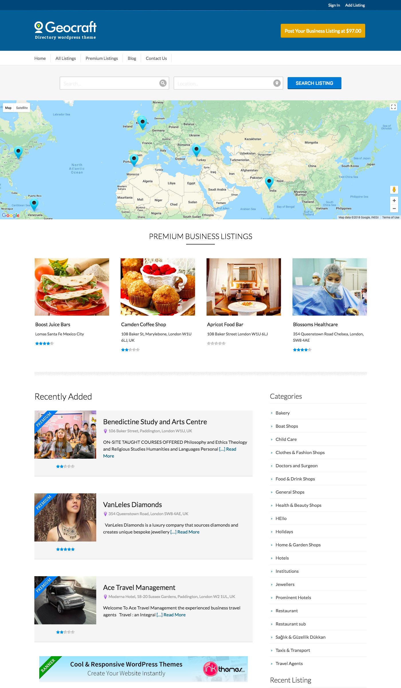 Business Directory - Free Business WordPress Theme - Freebie Supply
