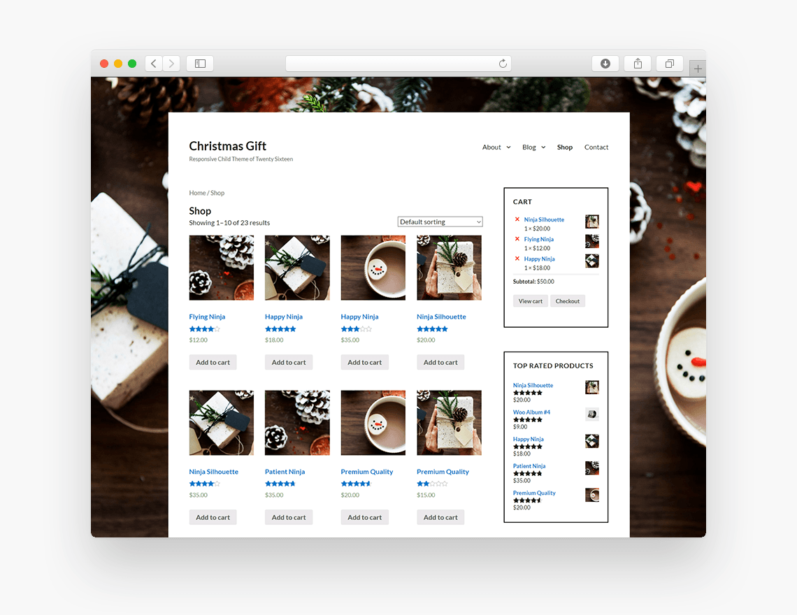 Christmas Gift - Free Ecommerce WordPress Theme - Freebie Supply