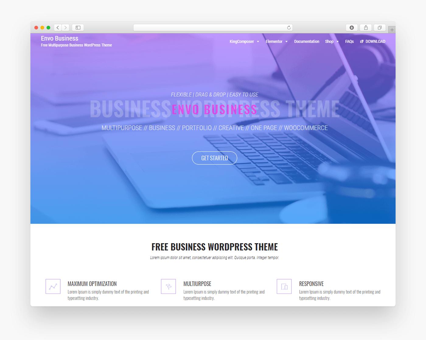 Envo Business - Free Ecommerce WordPress Theme - Freebie Supply