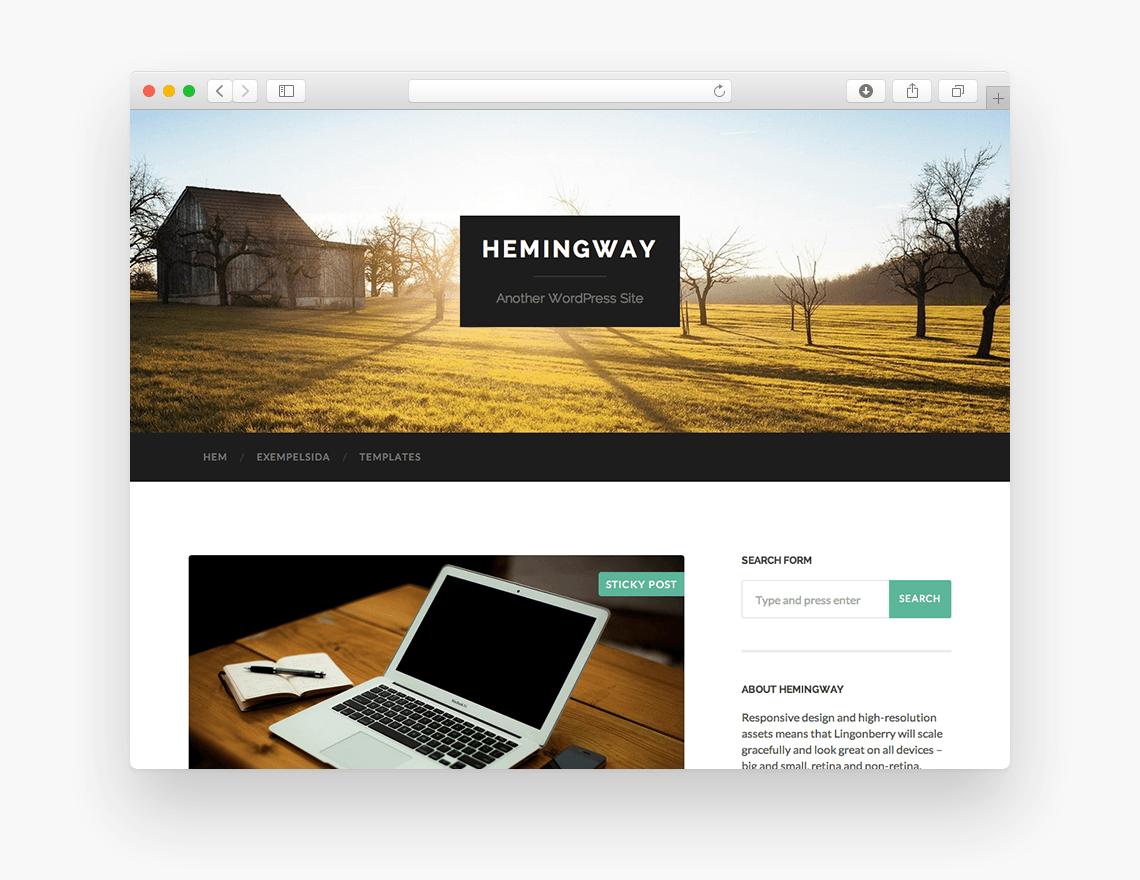 Hemingway - Free Blog WordPress Theme - Freebie Supply
