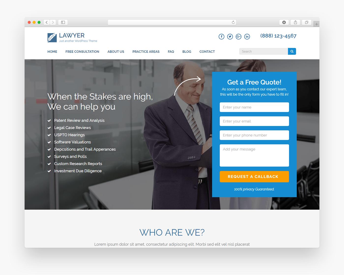 Lawyer Landing Page - Free Business WordPress Theme - Freebie Supply