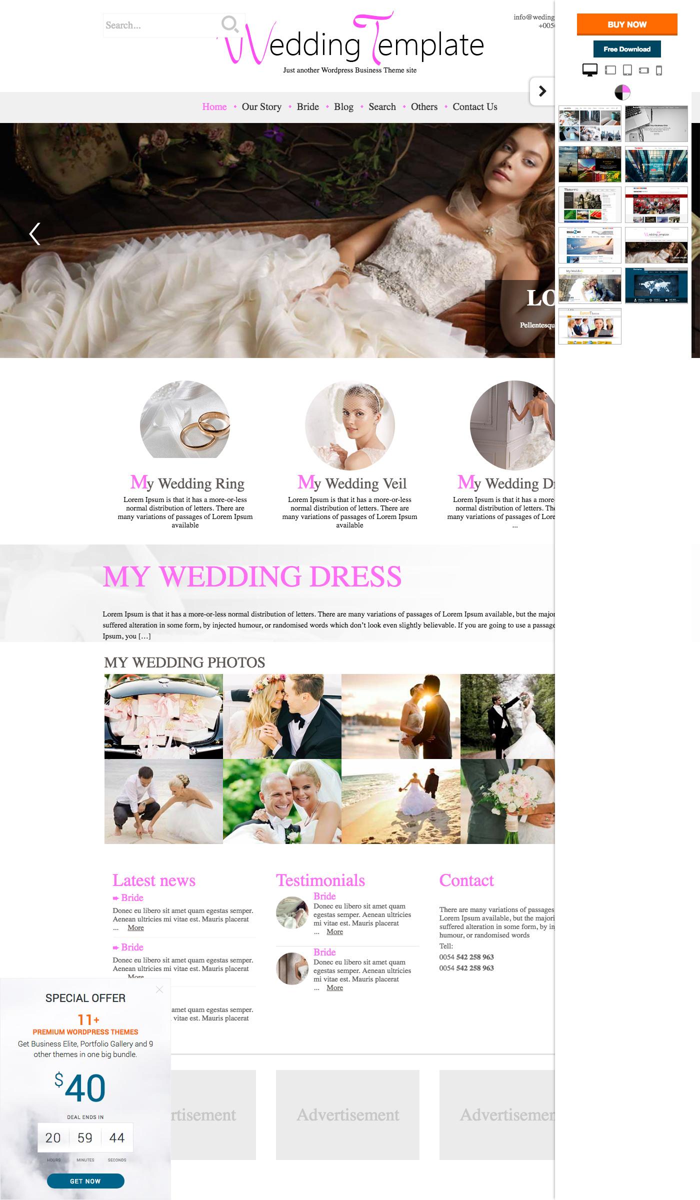 Nice Free Wordpress Wedding Themes Embellishment - Wedding Idea 2018 ...